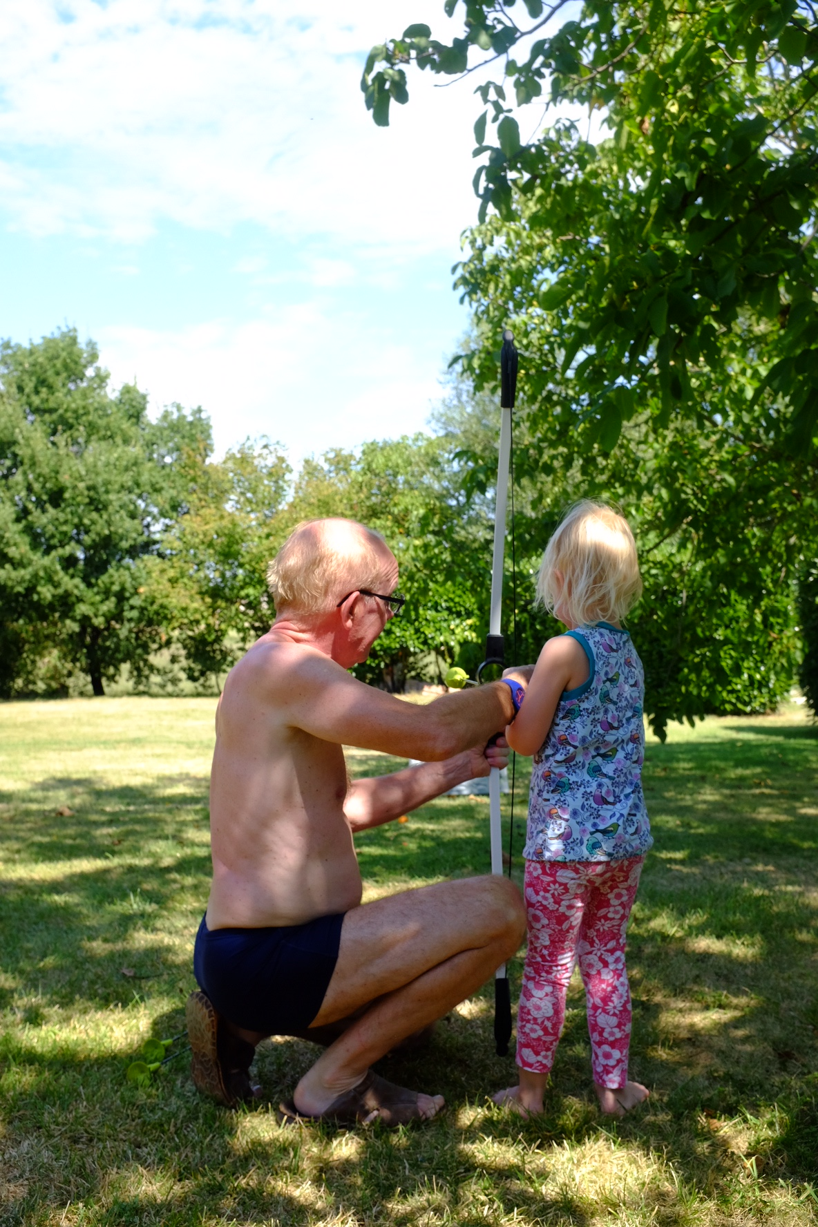 Archery in the garden.